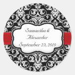 Black/Red Ribbon Damask Wedding Envelope Seal Sticker