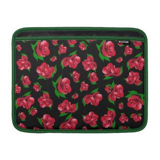 Black & Red Rose Pattern Sleeve For MacBook Air