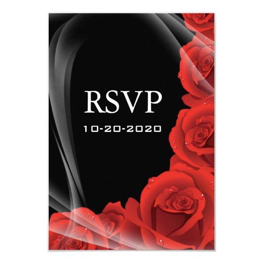 Black & Red Rose Wedding RSVP Response Cards