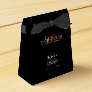Black & Red Roses Love Matching Wedding Names Date Favour Box
