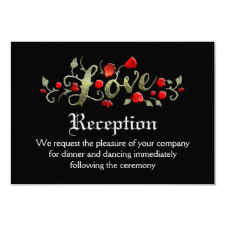 Black & Red Roses LOVE Matching Wedding Reception 9 Cm X 13 Cm Invitation Card