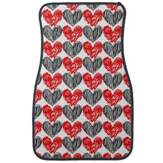 Black & Red Scribble Hearts Car Mat