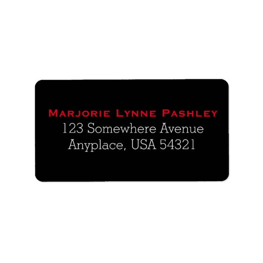 Black Red Simple Plain Address Labels