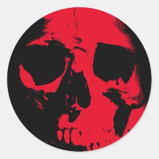 Black & Red Skull Round Sticker