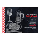 Black Red Spaghetti Pasta Chalk Dinner Party Event Card