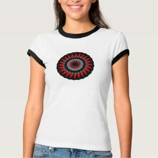 Black Red Spiral Spiked Round Design Tshirt