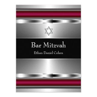 Black Red Star of David Bar Mitzvah 17 Cm X 22 Cm Invitation Card