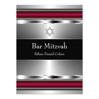 Black Red Star of David Bar Mitzvah Card