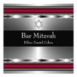 Black Red Star of David Bar Mitzvah Personalised Invitations