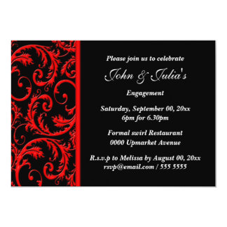 Black red swirl engagement anniversary PERSONALIZE 13 Cm X 18 Cm Invitation Card
