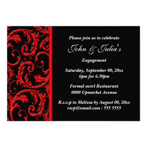Black red swirl engagement anniversary PERSONALIZE Custom Announcements