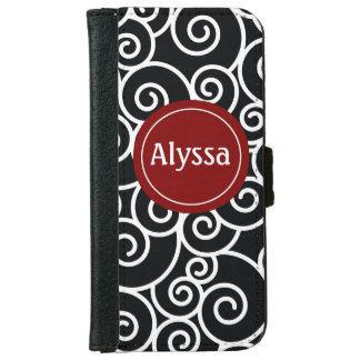 Black Red Swirl Personalized Wallet Case iPhone 6 Wallet Case