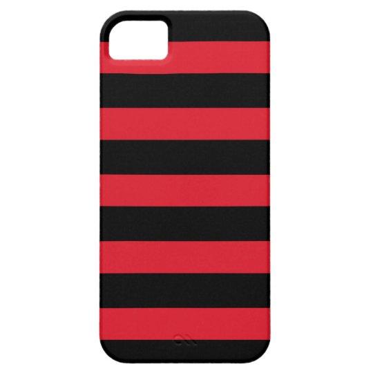 Black & Red Thick Horizontal Stripe iPhone 5