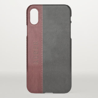 Black & Red Vintage Leather iPhone X Case