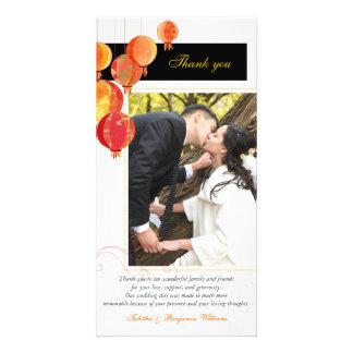 Black Red White Asian Theme Wedding Thank You Photo Cards