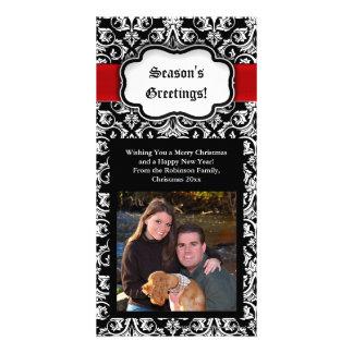 Black/Red/White Damask Season's Greeting Photocard Custom Photo Card