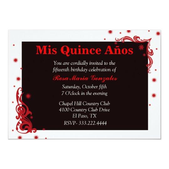 Black, Red, & White Festive Quinceañera Invitation