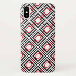 Black Red & White Geometric iPhone X Case