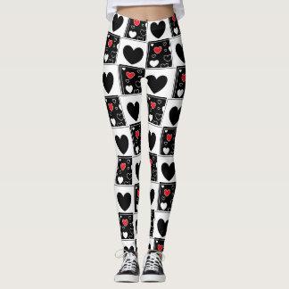 Black Red White Heart Patterned Leggings
