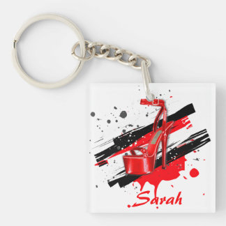 Black, Red & White Hot High Heels Key Ring