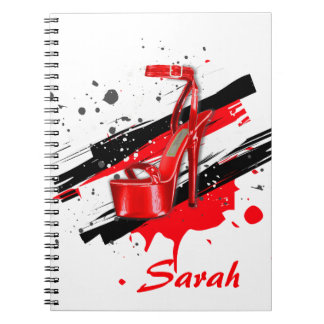 Black, Red & White Hot High Heels Notebook