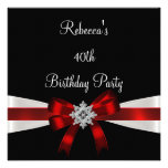 Black Red White Jewel Bow 40th Elegant Birthday Custom Invite