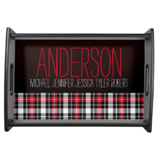 Black Red White Plaid Family Names Serving Tray