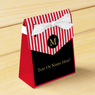 Black Red White Striped Great For Corporate Events Wedding Favour Boxes