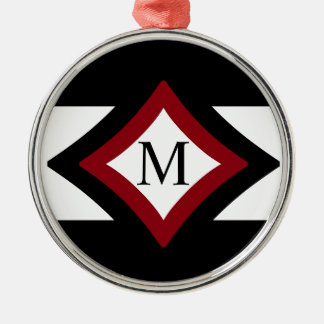 Black, Red & White Stylish Diamond Shaped Monogram Christmas Ornament