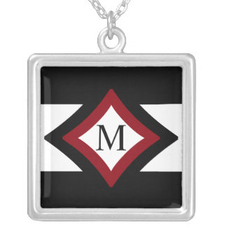 Black, Red & White Stylish Diamond Shaped Monogram Silver Plated Necklace