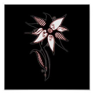 Black Red White Swirly Flower by Naomi Posters