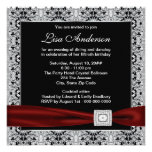 Black Red Womans Cranberry Red 50th Birthday Party Invitation