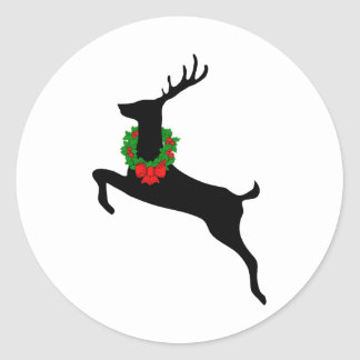 Black Rein Deer With Christmas Wreath Classic Round Sticker
