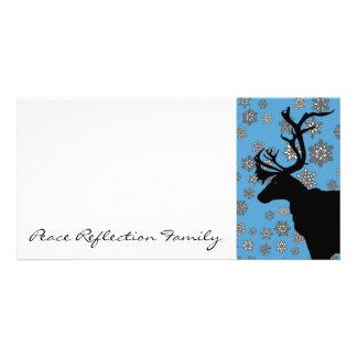 Black Reindeer with Snowflakes Card