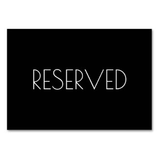 Black Reserved Seating Card Both Sides Table Card