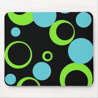 Black retro bubbles mouse pad