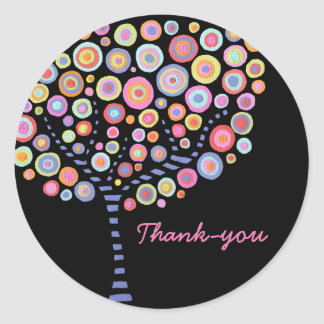 Black Retro Circle Tree Thank You Label Sticker