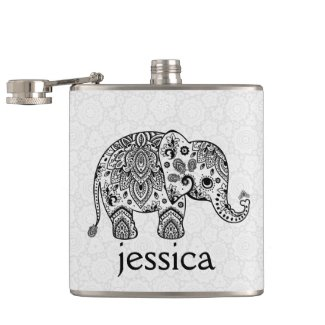 Black Retro Paisley Elephant Illustration Hip Flask