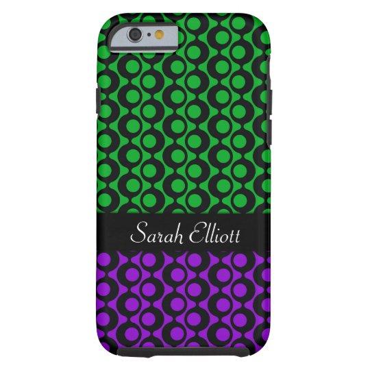 Black Retro Patterns, Green & Purple, Personalised Tough iPhone 6 Case