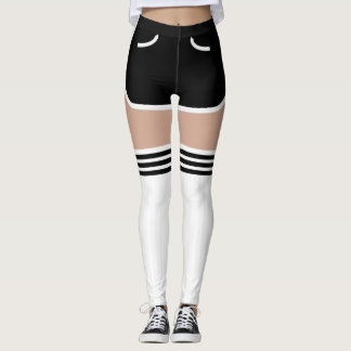 Black Retro Shorts OTK Tube Socks Leggings