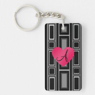 Black Retro squares monogram Acrylic Key Chains