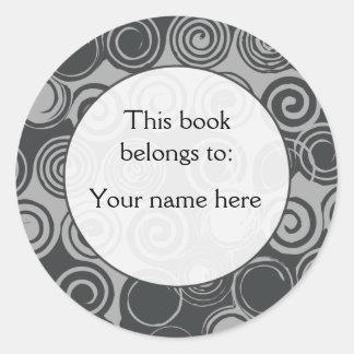 Black Retro Swirls custom bookplates Round Sticker