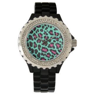 Black Rhinestone Leopard Print Wristwatch