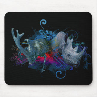 black rhino and rhino beetle mouse mat