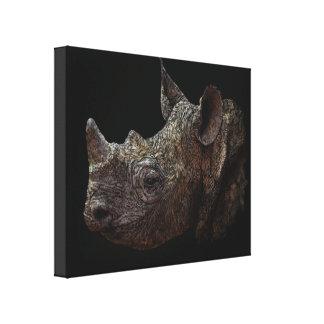 Black Rhino Gallery Wrapped Canvas