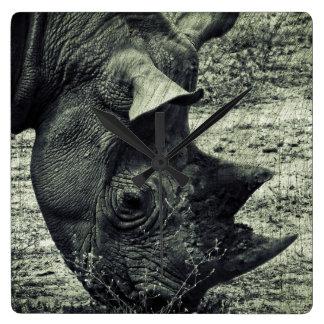 Black Rhino Grazing, Grunge, Monochrome Square Wall Clock