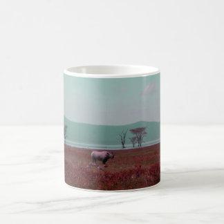 Black Rhino in Pink Coffee Mug