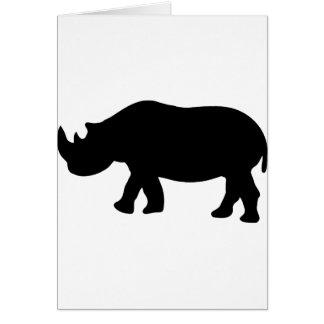black rhino rhinoceros  illustration card