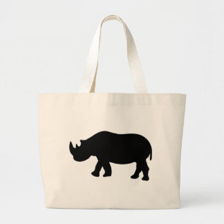 black rhino rhinoceros  illustration large tote bag