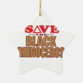 Black Rhino Save Christmas Ornament